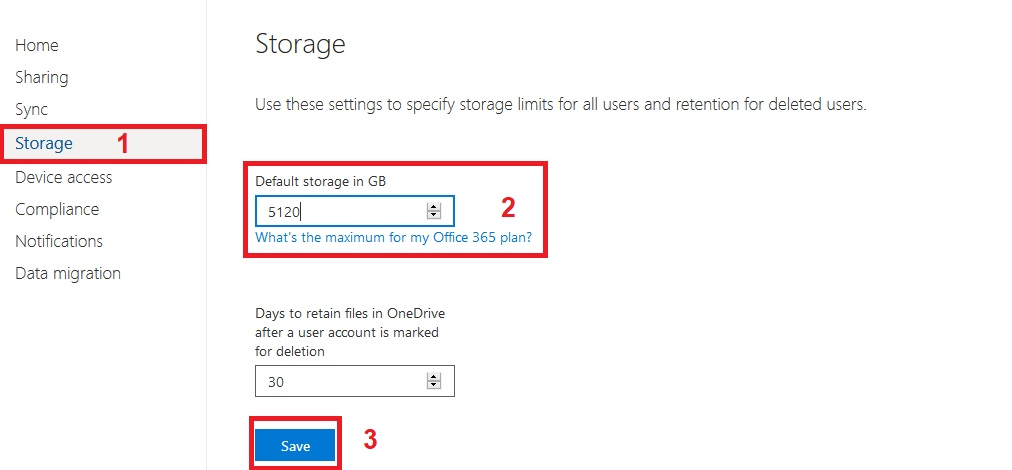 Lift Up The Space of One Drive Via Web Setting