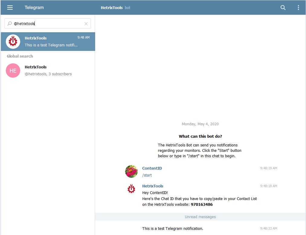 Telegram HetrixTools Allert