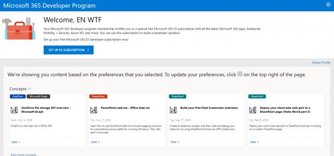 Microsoft Developer Program Dashboard