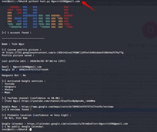 OSINT Ghunt finds information via gmail